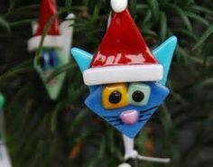 Cat Face Ornaments, Extra Cute with Santa Hats