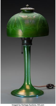 Tiffany Studios Engraved Green Favrile Glass Palm Desk Lamp. Circa | Lot #60007 | Heritage Auctions