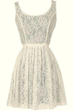 Effortlessly Enchanting A-Line Lace Dress in Ivory/Green