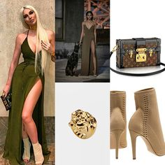 She Wears @laquan_smith F/W 2016 dress, LV - Petite Malle handbag, Gianvito Rossi - Vires Ankle boots, Versace - Medusa Signet ring