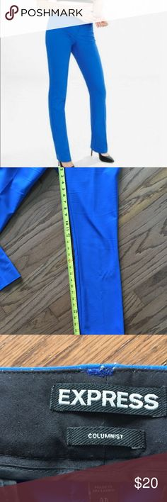 Express cobalt blue Columnist dress pants Express cobalt blue Columnist dress pants. Slight boot cut. Hemmed, about 29in inseam. Need to be dry cleaned. Hangar marks and slight pilling around pockets Express Pants Trousers