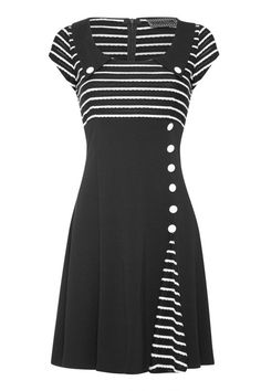 Robe Pin-Up Rockabilly Rétro 50's Rayé Noir Blanc - Robe - Vetements Femme - Tous nos Produits