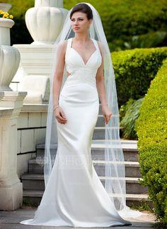 Trumpet/Mermaid V-neck Sweep Train Charmeuse Wedding Dress With Ruffle Beading Sequins.