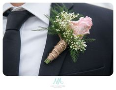 Baby breath, twine and rose boutonniere. Rose Boutonniere, Twine, Floral Tie, Place Cards, Baby, Photography, Wedding, Valentines Day Weddings, Photograph