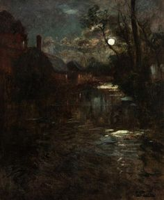 River by Moonlight by Frits Thaulow (1847 –1906)