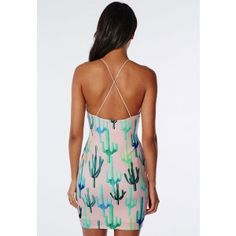 Scuba Strappy Cross Back Bodycon Dress Pink Cactus Print - Dresses - Bodycon Dresses - Missguided