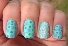 Nai7 Art: Summer Challenge: blue+aqua+green mani
