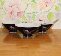 Vintage, Set of 3,  Blue Asian, Peacock and Floral Design Rice Bowls with Spoons