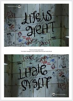 Depression awareness campaign - when held upside down they reveal hidden messages. Would make a powerful quilt.
