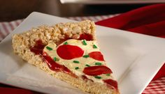 Rice Krispies® Treat Pizza ~ This pizza made from Rice Krispies, jam, frosting, fruit rollups and sprinkles... would be fun for April Fools Day or a kids birthday party