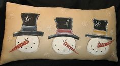 hand painted snowman pillow