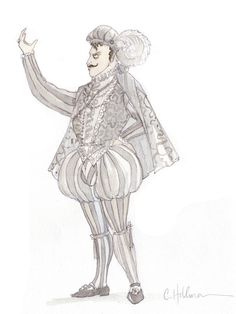 Preliminary sketch of Alfred in the Canadian Opera Company production of Die Fledermaus, 2012. Design by Constance Hoffman.