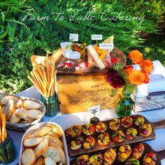 Artisanal cheese board and heirloom cherry tomato bruschetta | appetizers by Farm to Table Catering in Nevada City, Ca | www.farm2tablecatering.com