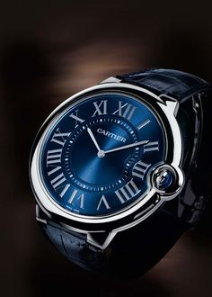 Cartier. Ballon bleu Collection. Platinum and leather. Saphire dial. ENGAGEMENT WATCH!