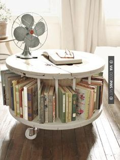 Vintage Interiors: How to do Shabby Chic Sustainably - Eluxe Magazine : Shabby Chic round coffee table bookshelf, vintage furniture, repurposed Diamond in the spaces for a rolling liquor coffee table Repurposed Furniture, Shabby Chic Furniture, Vintage Furniture, Diy Furniture, Repurposed Wood, Furniture Design, Bedroom Furniture, Industrial Furniture, Office Furniture