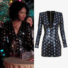 """Monique Colby wears his Balmain """"Diamond Motif"""" sequined dress on Dynasty Fashion Tv, Daily Fashion, Dynasty Serie, Dynasty Clothing, Givenchy Sweater, Emma Roberts Style, Balmain Dress, Costume Design, Sequin Dress"""