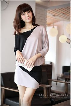 Off The Shoulder Cotton Formal Dress - The perfect dress for dinner at a fancy restaurant with your girlfriends or special someone. www.kawaiikawaii.my #cotton_mini_dress #off_shoulder_dress #long_sleeve_mini_dress #two_tone_mini_dress #mini_dress