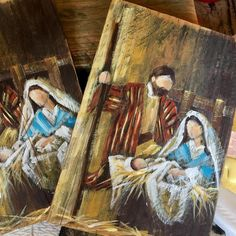 Started working on Christmas while in Texas. This special season will be here soon! Christmas Wood Crafts, Christmas Canvas, Christmas Nativity, Christmas Signs, Christmas Projects, Nativity Ornaments, Nativity Crafts, Pallet Painting, Pallet Art