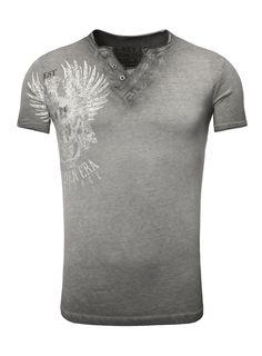 3dcdf1e332 T-Shirt by Key Largo WEST button Print Shirt Vintage Anthracite  #MensT-shirts