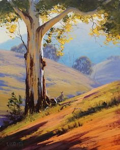 Gum and Kangaroo Australian painting All my paintings are in Oil on Linen canvas using both brush and palette knife My Originals can be purchased from my website www.landscape-paintings-austra&hell...