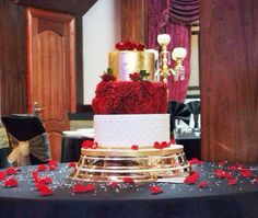 Grand red ruffle rose and gold wedding cake. By Nel's Cake Boutique www.nelscakeboutique.wordpress.com