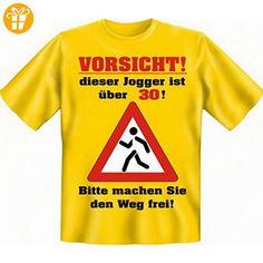 Geburtstags Fun Tshirt Vorsicht! Dieser Jogger ist über 30! Bitte machen Sie den Weg frei! Farbe gelb - Shirts zum 50 geburtstag (*Partner-Link)
