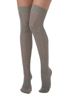 A Leg Up Socks in Stone by Tabbisocks - Grey, Knitted, Casual, Fall, Winter, Show On Featured Sale, Sheer, Scholastic/Collegiate, Knit, Top ...