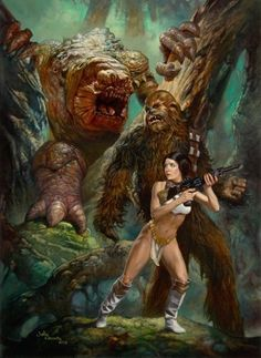 Forest Rancor by Julie Bell & Boris Vallejo. Filled with menace and sexuality - Star Wars Star Wars Film, Star Wars Mädchen, Boris Vallejo, Meninas Star Wars, Starwars, Film Science Fiction, Vision Book, Star Wars Painting, Julie Bell