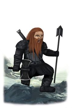 Dwarf male with spear and axe. Art concept from The Fellowship Of The King book by Lynne Collier. Art by Kirstie Shanks. #dwarf