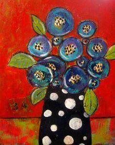 Vase of flowers Art Floral, Abstract Flowers, Whimsical Art, Acrylic Art, Medium Art, Mixed Media Art, Painting Inspiration, Art Lessons, Collage Art