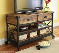 Love the simple rustic look. Better Homes and Gardens Rustic Country Antiqued Black/Pine Panel TV Stand for TVs up to Console Furniture, Industrial Furniture, Vintage Furniture, Vintage Industrial, Rustic Furniture, Furniture Storage, Industrial Style, Console Tables, Industrial Tv Stand
