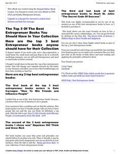How to have a successful business part 2 of my 5 part blueprint by may 2013 published by cesar tapiacreated using zinepal go online to create your own ebooks in pdf epub kindle and mobipocket formats malvernweather Image collections