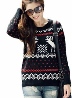 A168® Gorgeous Christmas Deer and Snowflake Jumper - Red / Black / White / Blue: Amazon.co.uk: Clothing