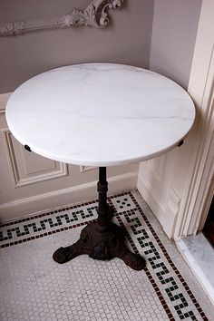 Bistro Table ~ Cast Iron Table Base ~ White Marble