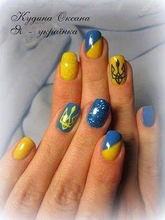 yellow blue nail art, Ukrainian nails