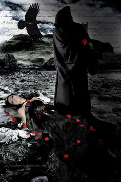 """While I was writing one of my poems (""""Fallen angel"""") I was thinking of something like this manip.hope you`ll like it Stock: model : death : background. Even In Death. Grim Reaper Art, Don't Fear The Reaper, Death Reaper, Dark Side, Images Lindas, Gothic Images, Gothic Fantasy Art, Beautiful Dark Art, Beautiful Castles"""
