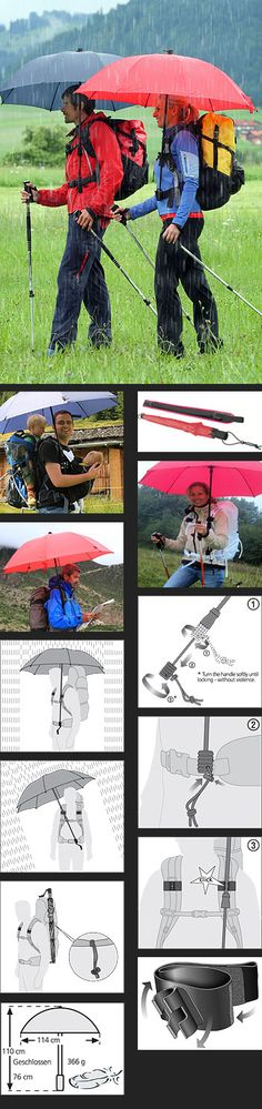 "Pretty Cool ""The first real handsfree backpack umbrella."" ""The innovative trekking umbrella is easily fastened to any standard backpack with hip belt and directed into the wind and rain. Both hands remain completely free which is ideal for walkers who do Backpacking Gear, Camping And Hiking, Hiking Gear, Camping Gear, Hiking Tips, Winter Camping, Camping Equipment, Family Camping, Beach Camping"