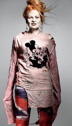 Vivienne Westwood wearing a top she designed in the e706e954c