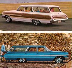 1964 Ford Country Squire and Country Sedan Station Wagons. Now those are some cool wagons right there.