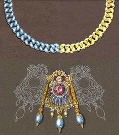 """Harry Winston. Watercolor rendering of """"barbazzale"""" chain in white and yellow gold. Copy of watercolor rendering of a """"nine-gem"""" necklace designed by Rameshwar Shinde, 1945."""