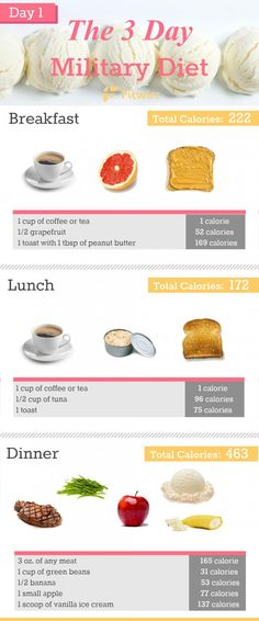 Military Diet: 3-Day Diet Plan to Lose 10 Lbs In 1 Week - Fitwirr Best Diet Foods, Best Diets, Healthy Diet Plans, Diet Meal Plans, Healthy Foods, Paleo Diet, Ketogenic Diet, Protein Foods, Healthy Weight