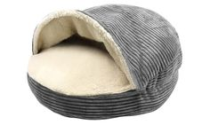 """Round Corduroy Cave Pet Bed with Plush Sherpa Interior. Cave-style pet beds have a hooded cover with a plush shepra interior, creating a cozy area for your pet to cuddle up. 25"""" for 39.99 from 60.65"""