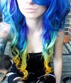 Not the biggest fan of crazy hair colors, but I think the colors fading into one another looks cool