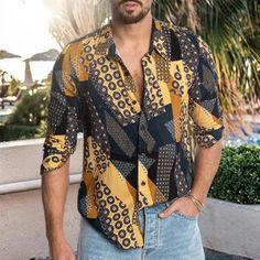 Men's Fashion Beach Print Lapel Long Sleeve Shirt – blinglikes Beach Print, Well Dressed Men, Fashion Prints, Casual Shirts, Long Sleeve Shirts, Men Casual, Mens Fashion, Sleeves, Clothes