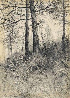 "Ink Drawing ""Aleksei Pisemsky (Russian, The forest Ink on paper x 15 cm. Landscape Sketch, Landscape Drawings, Landscape Paintings, Abstract Paintings, Tree Sketches, Drawing Sketches, Ink Illustrations, Illustration Art, Nature Drawing"