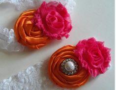 Tangerine orange  hot pink wedding garter set