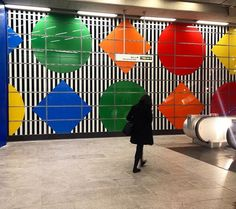 Pin for Later: 19 Works of Art on the London Underground You Don't Want to Miss Tottenham Court Road Commission, Daniel Buren Where? Tottenham Court Road station