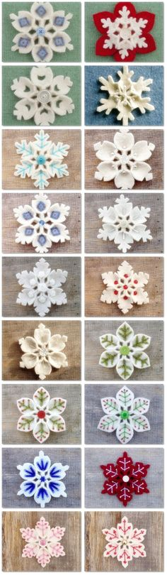 How to make Felt Snowflake DIY step by step tutorial instruction is part of Felt Winter crafts - I love it! So beautiful~ Christmas Projects, Felt Crafts, Holiday Crafts, Diy Crafts, Felt Projects, Spring Crafts, Fabric Crafts, Felt Decorations, Christmas Decorations