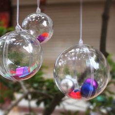 1 Pcs Claro Pendurado Bugigangas Rodada Enfeite de Bola de natal Bola de Natal Decoração Da Casa Árvore de Natal Árvore de Natal Decoração de Natal 4-8 cm