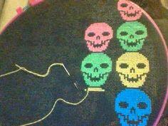 Neon Skull Bad Ass Cross Stitch